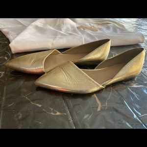 J Crew sz 9 gold leather pointed toe D'Orsay flats